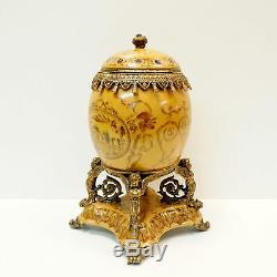 Art Nouveau Style Centerpiece Urn Flower Art Deco Style Porcelain Bronze