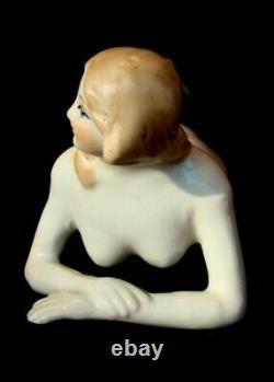 Art Nouveau Style Figurine Bathing Beauty Sexy Naked Art Deco-German Style Porce