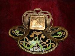 Art Nouveau Style Inkwell Flower Art Deco Style Porcelain Bronze Ceramic