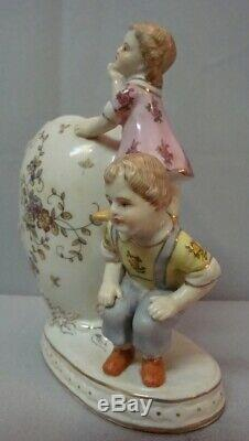 Art Nouveau Style Vase Figurine Child Art Deco Style Porcelain Enamels