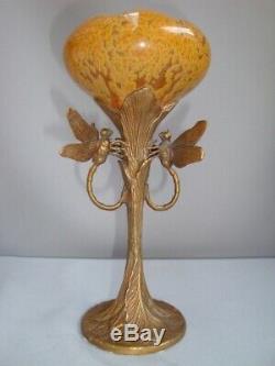 Art Nouveau Style Vase Figurine Dragonfly Wildlife Art Deco Style Porcelain Bron