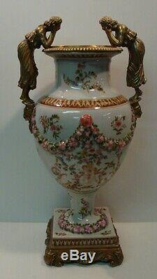 Art Nouveau Style Vase Figurine Flower Art Deco Style Porcelain Bronze Ceramic