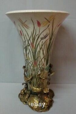 Art Nouveau Style Vase Figurine Frog Art Deco Style Porcelain Bronze