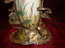 Art Nouveau Style Vase Figurine Frog Elf Art Deco Style Porcelain Bronze