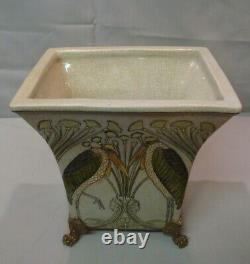 Art Nouveau Style Vase Marabou Bird Art Deco Style Porcelain Bronze
