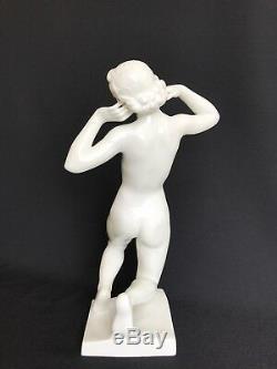 Augarten Wien Vienna Porcelain Figurine Art Deco Nude Woman Kneeling Austria