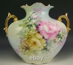 Austria Hand Painted Multicolor Roses Handled 11 Pillow Vase