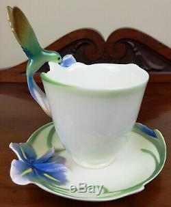 BNIB Franz Porcelain Long Tail Hummingbird Cup and Saucer FZ00129 Art Deco Style