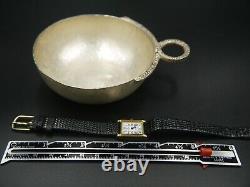 Baume et Mercier 1830 Square Ladies 18K Gold Quartz Watch Leather & Pin Buckle