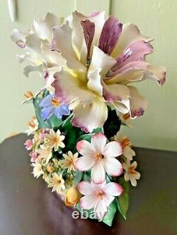Beautiful Vintage Capodimonte Porcelain Made in Italy Flower Basket Crown N