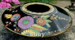 Black Art Deco CARLTON WARE Persian Garden Geometric Flowers Stars Bowl #3893