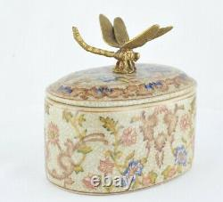 Boite Bijoux Figurine Poudrier Libellule Animalier Style Art Deco Porcelaine