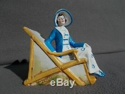 Boite femme art deco statuette baigneuse en porcelaine 30s vintage box half doll
