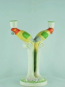 Bougeoir Figurines Perroquet Animalier Style Art Deco Porcelaine Ceramique