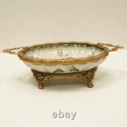 Bowl Flower Art Deco Style Art Nouveau Style Porcelain Bronze Centerpiece