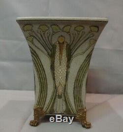 Bronze Porcelain Art Deco Style Art Nouveau Style Bird Marabou Vase