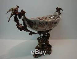 Bronze Porcelain Art Deco Style Art Nouveau Style Flower Bird Parrot Figurine Fr
