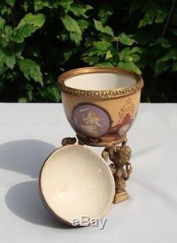 Bronze Porcelain Art Deco Style Art Nouveau Style Lion Urn Centerpiece