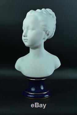Buste ancien Porcelaine Houdon Tharaud Limoges Jeune Fille art deco Statue