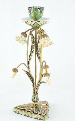 Candlestick Art Deco Style Art Nouveau Style Porcelain Bronze Ceramic