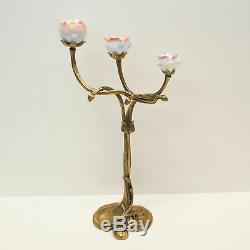 Candlestick Flowers Art Deco Style Art Nouveau Style Bronze Ceramic Porcelain
