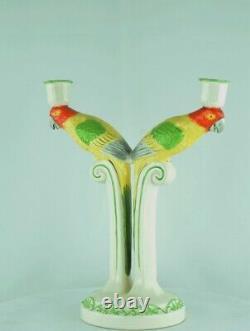 Candlestick Parrot Wildlife Art Deco Style Art Nouveau Style Porcelain Ceramic F