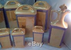 Canister Spice Vinegar Oil Flour Dispensers Set Art Deco Vintage German 13 pcs