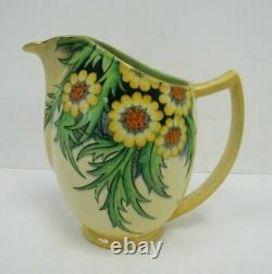 Carlton Ware Jug Yellow Floral Pouring Serving Porcelain Art Deco