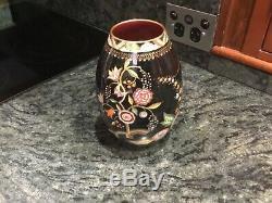 CarltonWare England Hand Painted Noir Royale Persian Garden Vase 21 cm Tall VGC