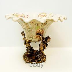 Centerpiece Fruit plate Flower Art Deco Style Art Nouveau Style Porcelain Bronze