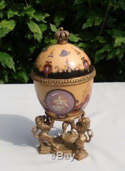 Centerpiece Urn Lion Art Deco Style Art Nouveau Style Porcelain Bronze
