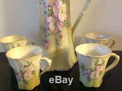 Chocolate Tea Pot 4 Cups NIPPON Style PORCELAIN Hand Painted Green withOrchids