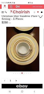 Christian Dior 5 Piece Place Setting White And Gold Gaudron