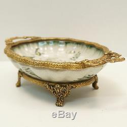 Coupelle Centre de table Fleur Style Art Deco Porcelaine Bronze