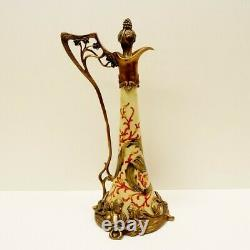 Cruche Pichet Fleur Iris Style Art Deco Style Art Nouveau Porcelaine Bronze