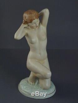 Czech Art Deco Royal Dux Art Deco NUDE Girl by Elly Strobach-Konig (# 11012)