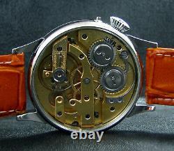 Dictator Antique 1910's Large Steel Wristwatch Art Deco Metal and Porcelain Dial