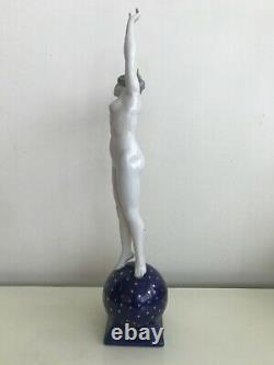 Dressel Kister Antique Rare Art Deco Porcelain Figurine of Nude Lady Half Doll