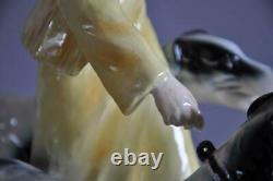 Elegant Art Deco Porcelain Goldscheider Style Figurine Walking with 2 Borzoi