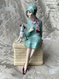 Exceptionnal Porcelain Box/half Doll Related/demi-figurine/art Deco/fasold