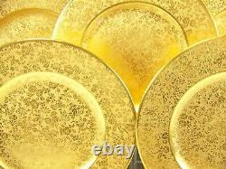 Exquisite Heinrich & Co Le Roy Chicago Gold Encrusted Dinner Plates Set Of 6