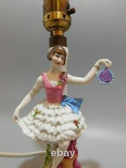 FABULOUS Antique German Porcelain ART DECO Flapper Lady Lamp Half Doll Related