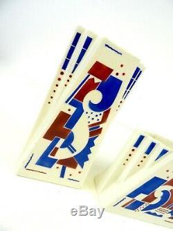 Fantastic Rare Avantgarde Art Deco 3 Cubist Ceramic Vases By K&g Luneville 1925