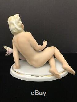 Fasold & Stauch Reclining Nude with Fish Porcelain Figurine Wallendorf Germany
