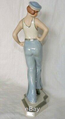 Figurine Art Deco En Porcelaine Royal Dux By Schaff Marin Sailor Girl 1930