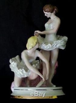 Fine vintage large Ballerinas figurine Kiev porcelain 11.25 inches/28 cm 1948