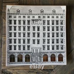 Fornasetti Architettura Castle Square Plates Golden Gilt Home Decoration Dining