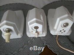 Four Identical Vintage ART DECO Porcelain Wall Sconces