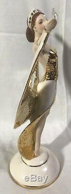Franklin Mint Art Deco 24 Karat Gold Porcelain Figurine Sunrise In Gold