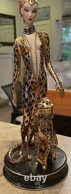 Franklin Mint Erte Leopard Figurine Art Deco Woman Statue Limited Edition M3719